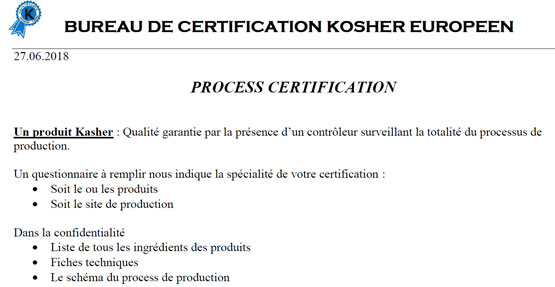 Process de certification Kosher