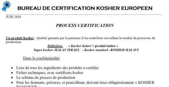 Process de certification Kosher Lait et Fromages